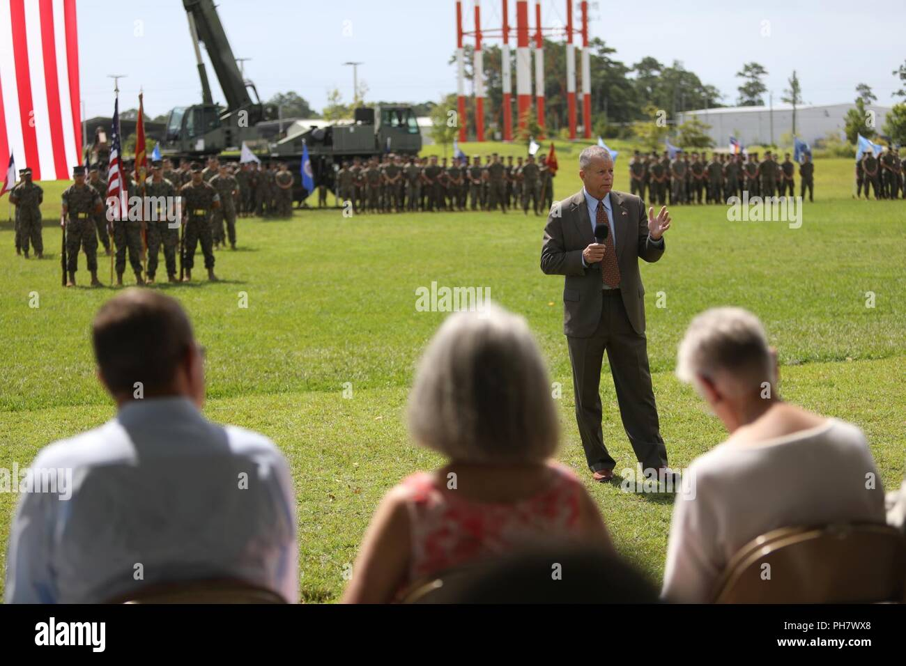 Retired U.S. Marine Corps Lt. Gen. Frank A. Panter, addresses Marines, family and friends during Maj. Gen. Niel E. Nelson's retirement ceremony at Camp Lejeune, N.C., June 26, 2018. The ceremony was held in honor of Maj. Gen. Nelson's 35 years of honorable and meritorious service. Stock Photo
