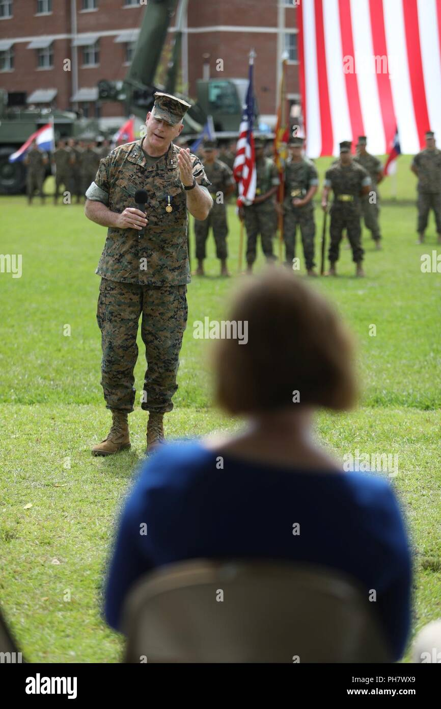 U.S. Marine Corps Maj. General Niel E. Nelson, deputy commanding general of Marine Corps Combat Development Command, addresses Marines, family and friends during his retirement ceremony at Camp Lejeune, N.C., June 26, 2018. The ceremony was held in honor of Maj. Gen. Nelson's 35 years of honorable and meritorious service. Stock Photo