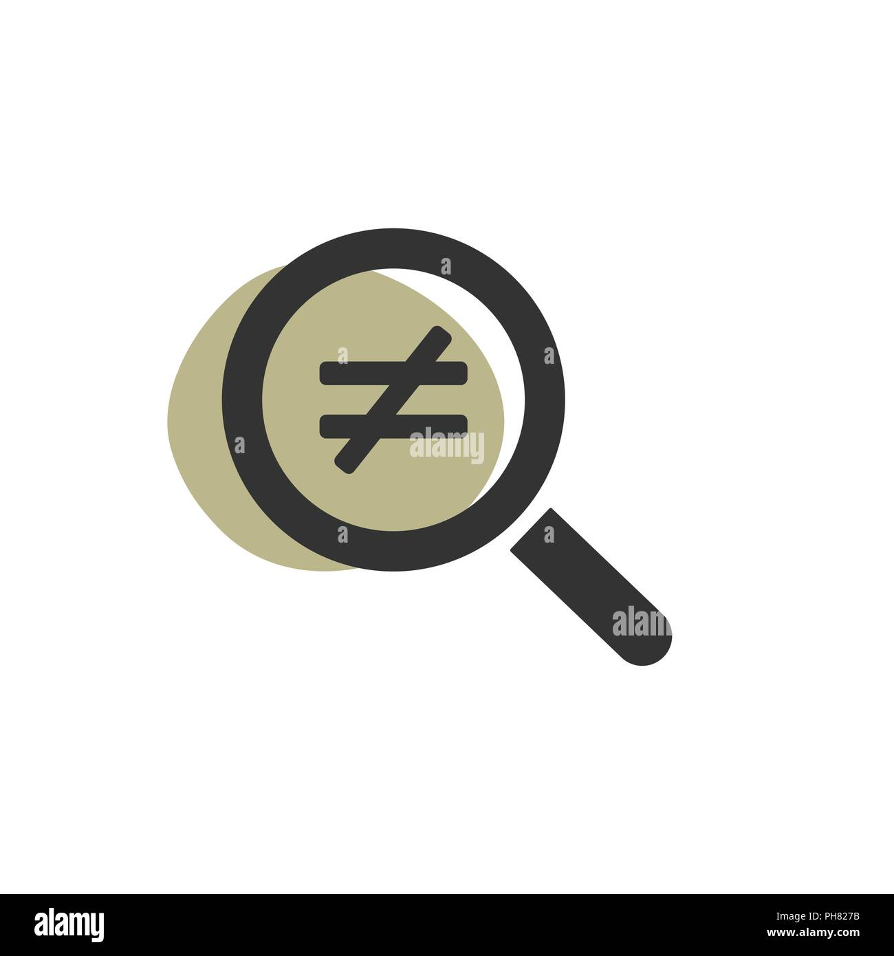 Magnifying glass inequality isolated web icon. Vector illustration - Stock Image