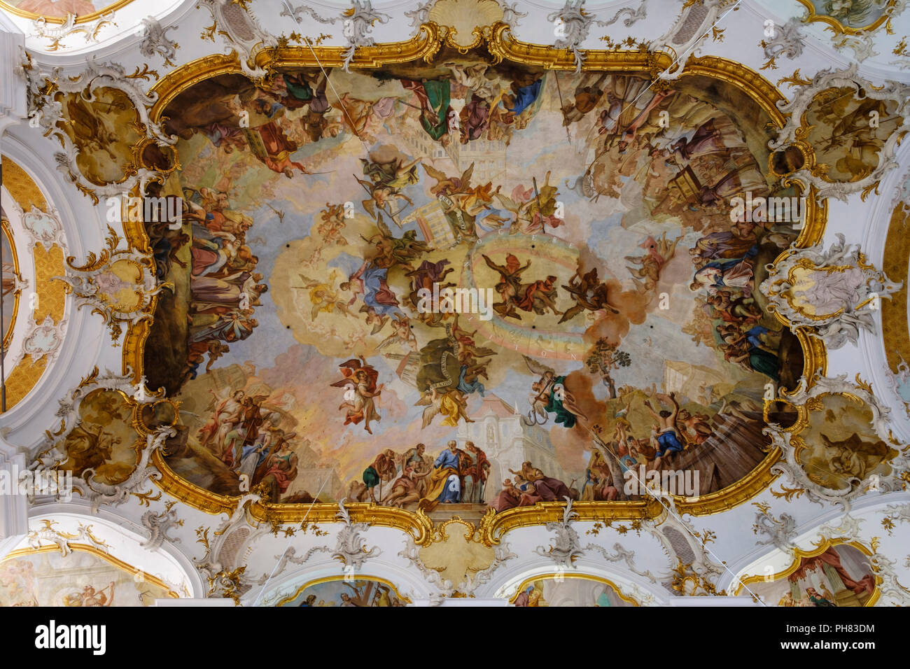 Ceiling fresco Healing miracle at the pond Betesda and miraculous image with help seekers, pilgrimage church Maria Steinbach - Stock Image