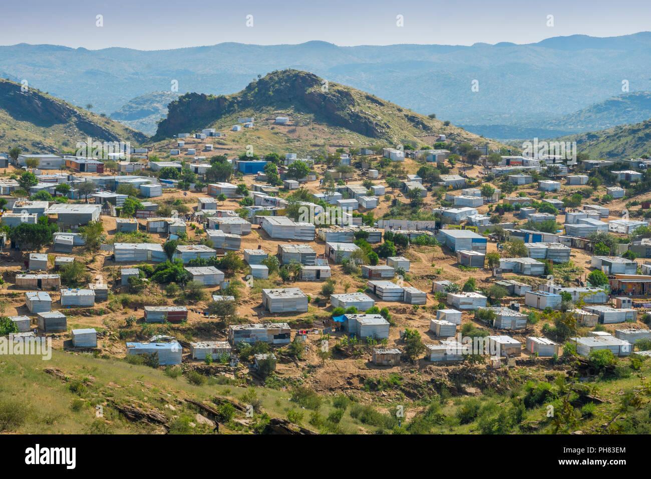 Shacks, shantytown, township, Katutura, Windhoek, Namibia - Stock Image