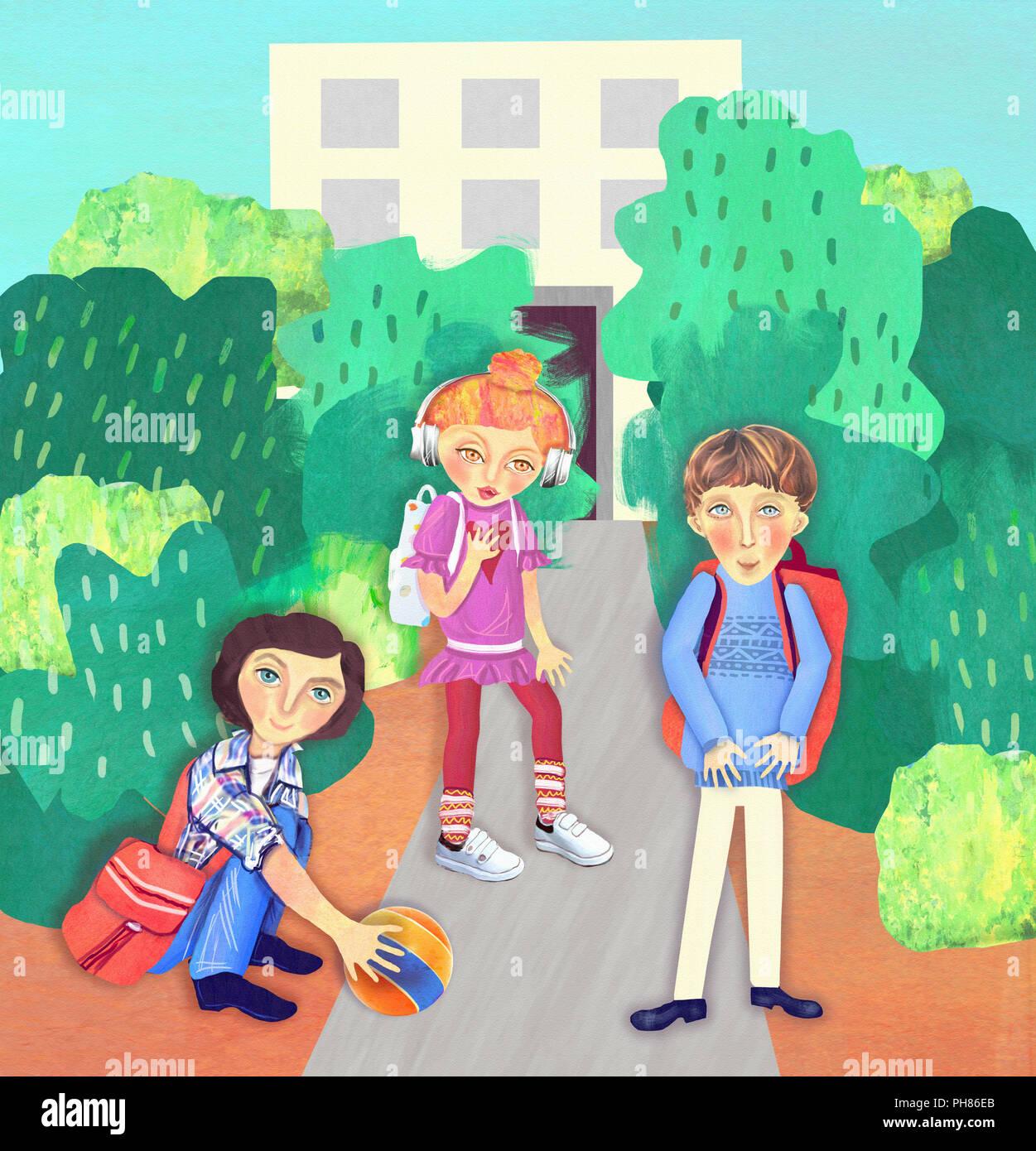 Schoolchildren are near the school. Back to school - Stock Image