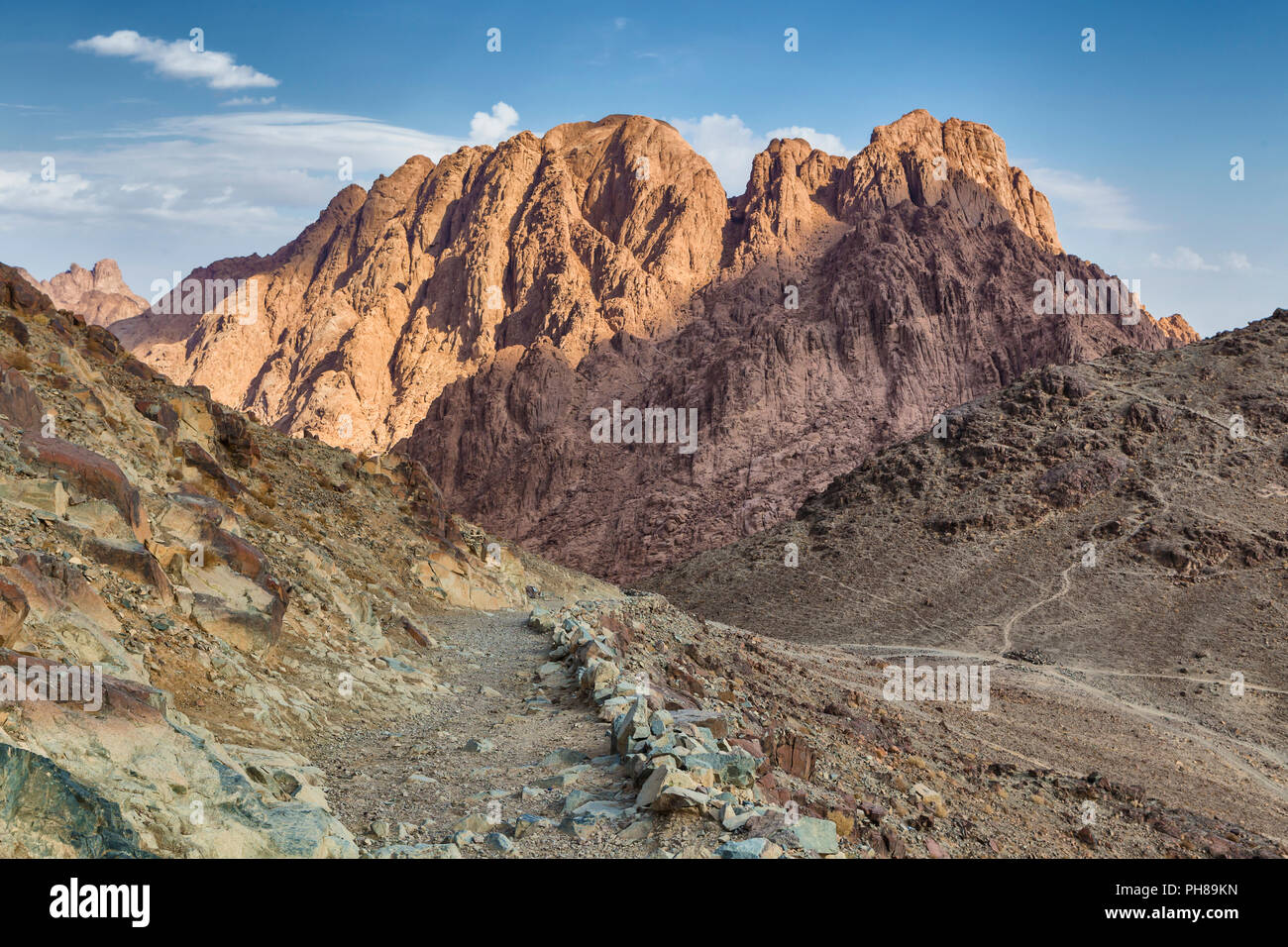 Sunrise, Mount Sinai, Gabal Musa, Sinai peninsula, Egypt - Stock Image