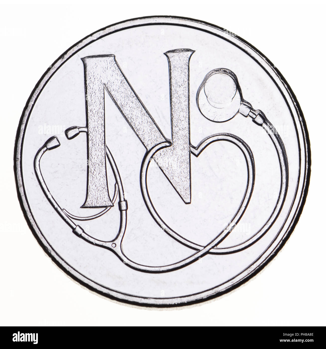 British 10p coin (reverse) from 2018 'Alphabet' series, celebrating Britishness. N - National Health Service - Stock Image