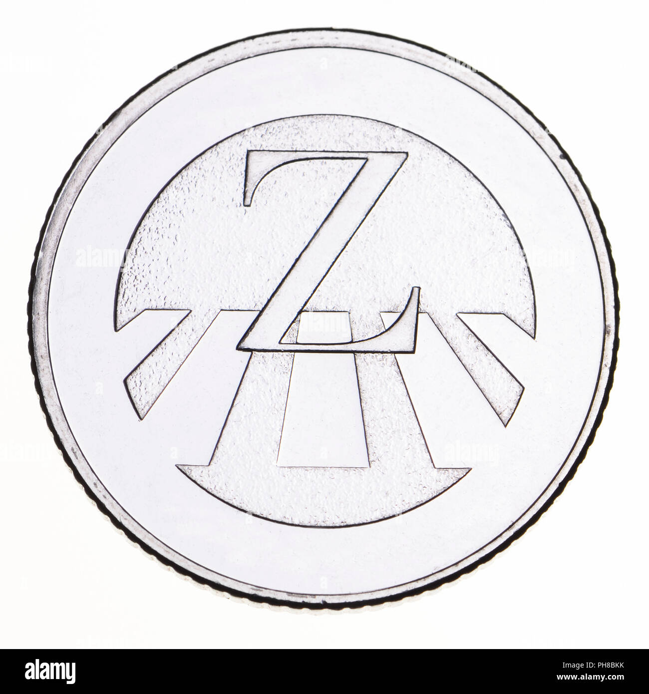 British 10p coin (reverse) from 2018 'Alphabet' series, celebrating Britishness. Z - Zebra Crossing Stock Photo