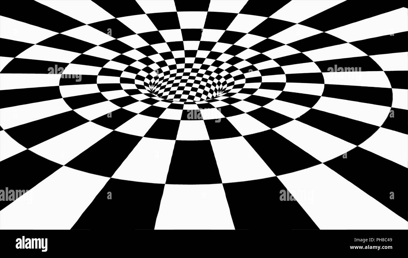Square tunnel black and white abstract tunnel 3d stock