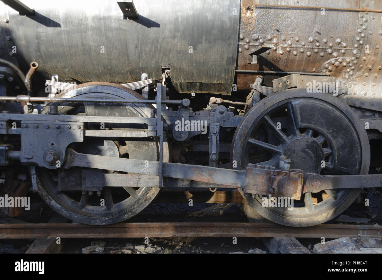 Wheels from a old steam train. Stock Photo