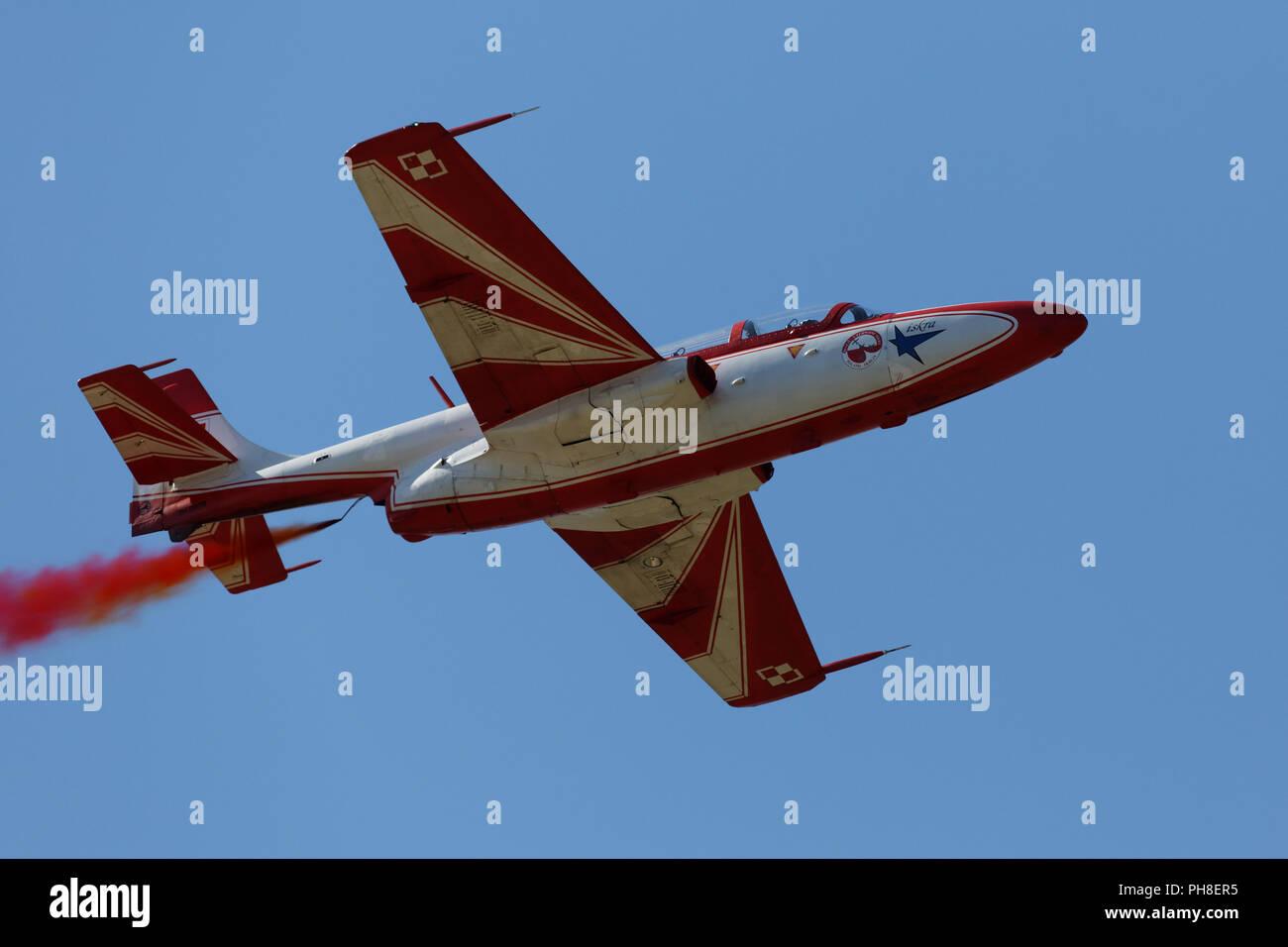 20. CIAF 2013:PZL TS-11 Iskra der polnischen Kunsflugstaffel. Stock Photo