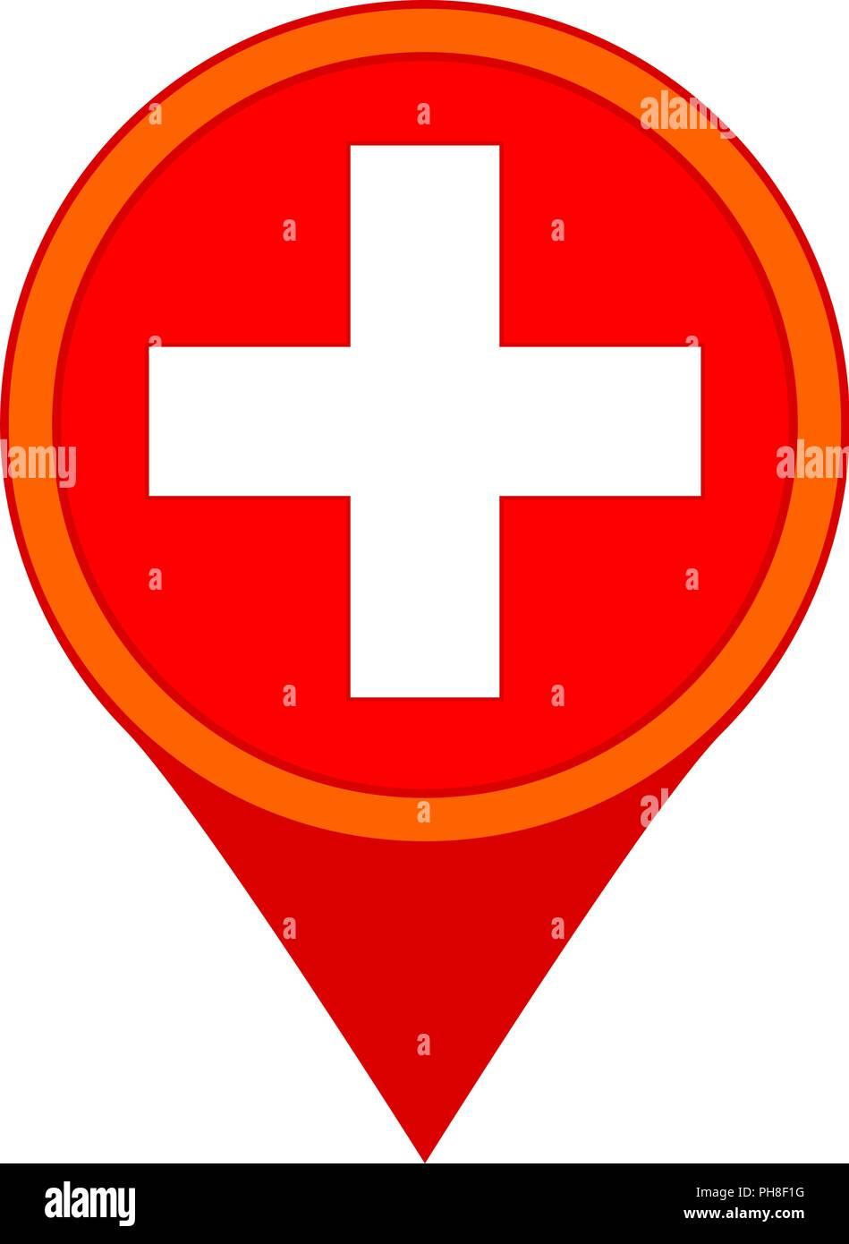 Colorful cartoon hospital map sign - Stock Vector