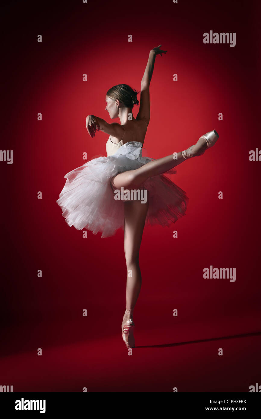 Young graceful female ballet dancer or classic ballerina dancing at