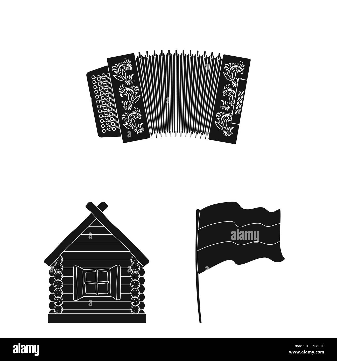 Country Russia, travel black icons in set collection for design. Attractions and features vector symbol stock  illustration. - Stock Vector
