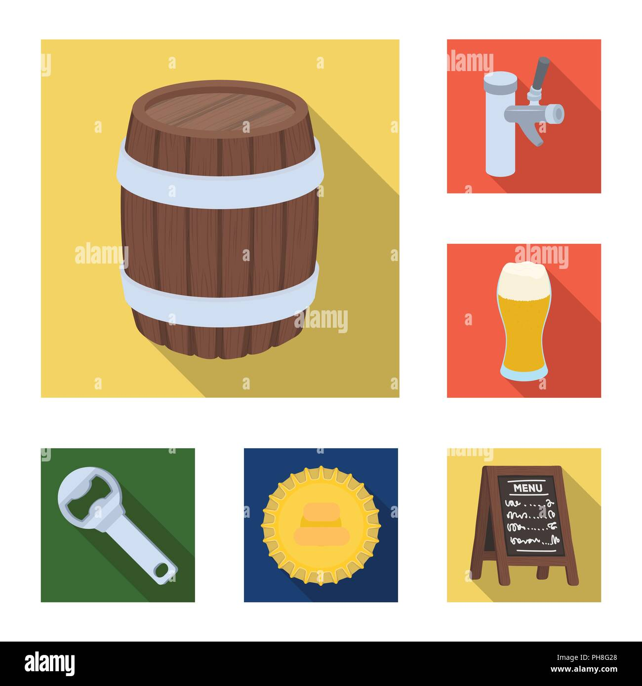Pub, interior and equipment flat icons in set collection for design. Alcohol and food vector symbol stock  illustration. Stock Vector