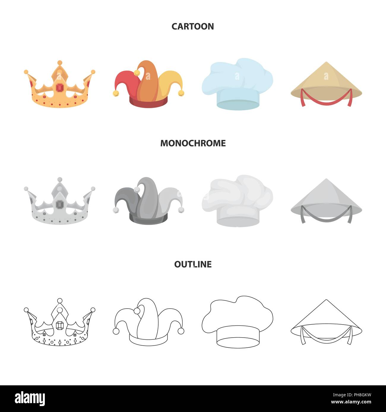 Crown Jester Cap Cook Cone Hats Set Collection Icons In Cartoon Outline Monochrome Style Vector Symbol Stock Illustration Stock Vector Image Art Alamy Pikbest has 200 crown outline design images templates for free. alamy