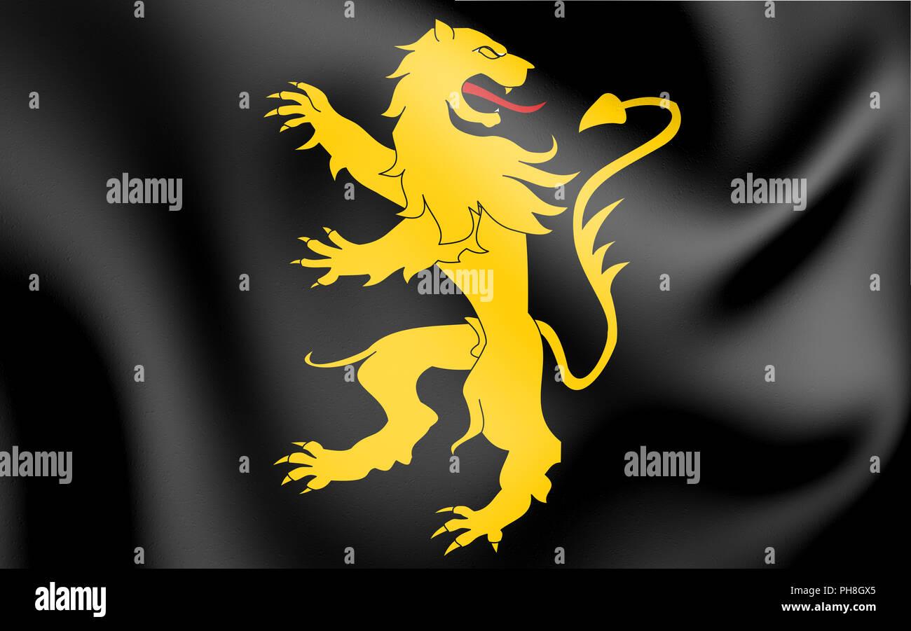 3D Flag of Ceredigion, Wales. 3D Illustration. - Stock Image