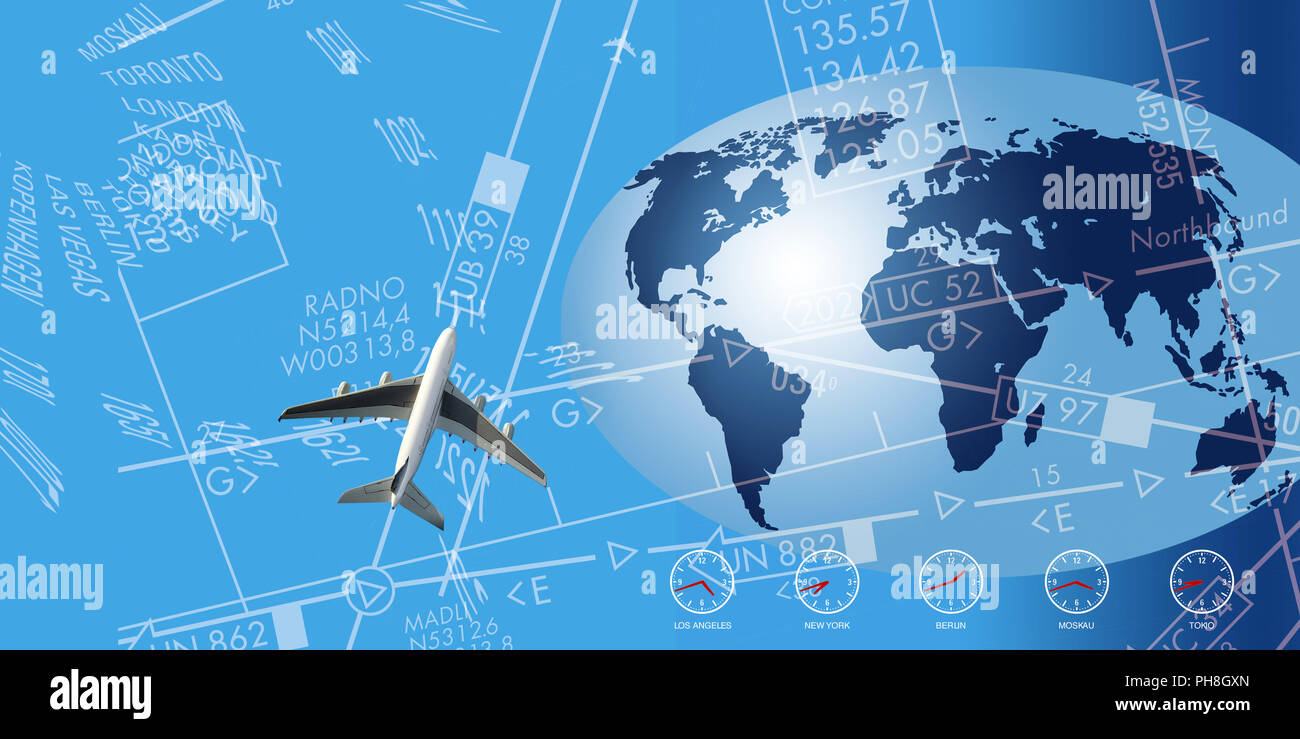 Flight route network, graphic/typographic depiction - Stock Image