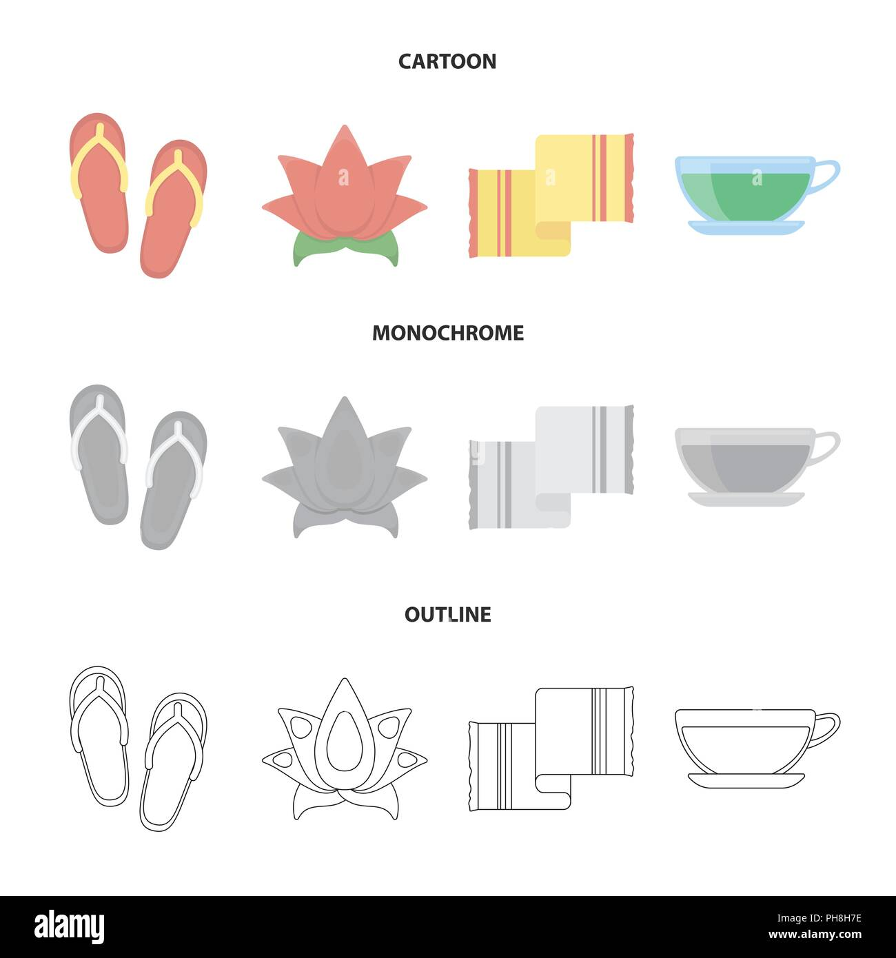 Flip-flops for the pool, lotus flower with petals, yellow towel with fringe, cup with tea, drink. Spa set collection icons in cartoon,outline,monochro - Stock Image