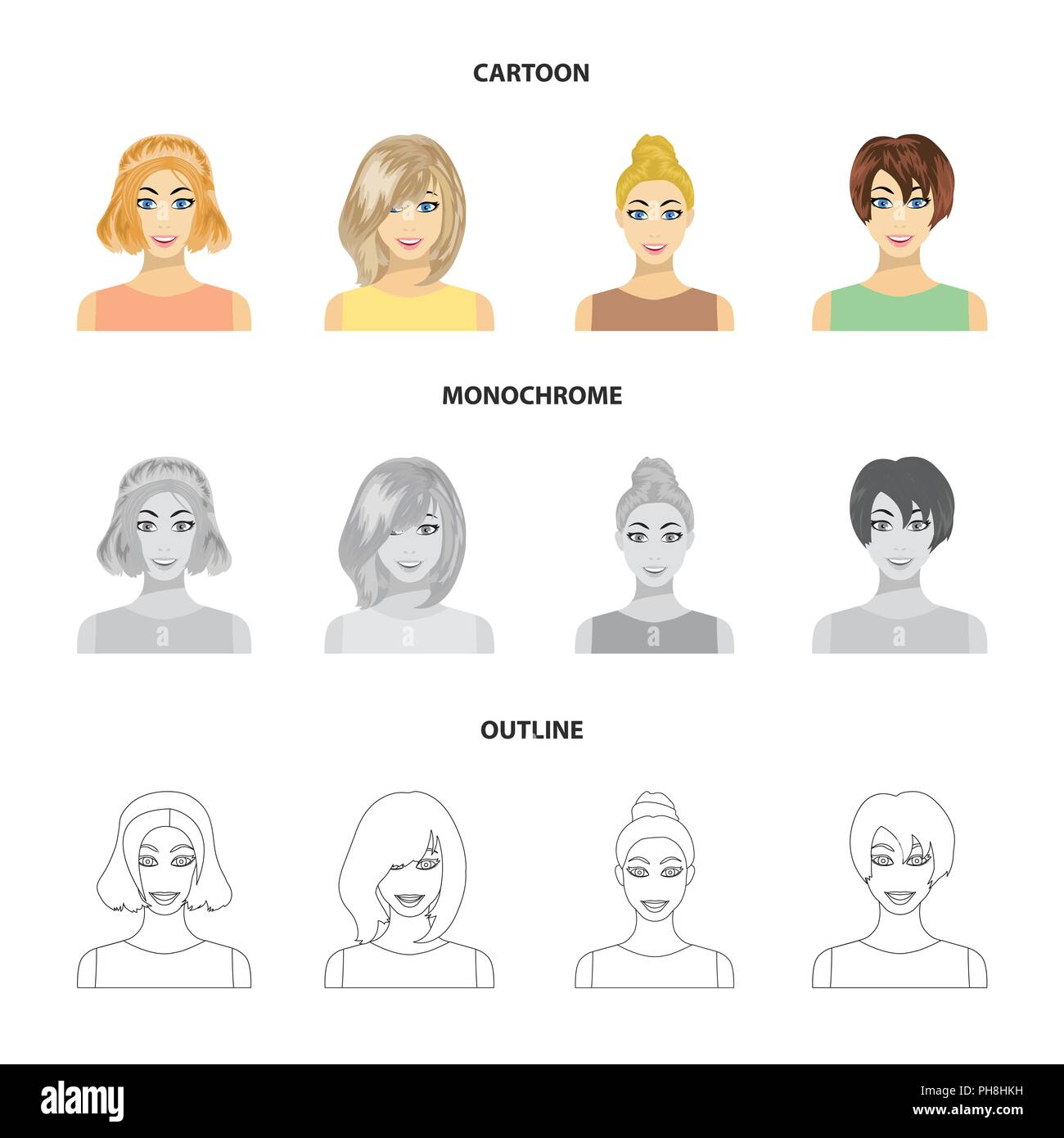 Types Of Female Hairstyles Cartoonoutlinemonochrome Icons In Set