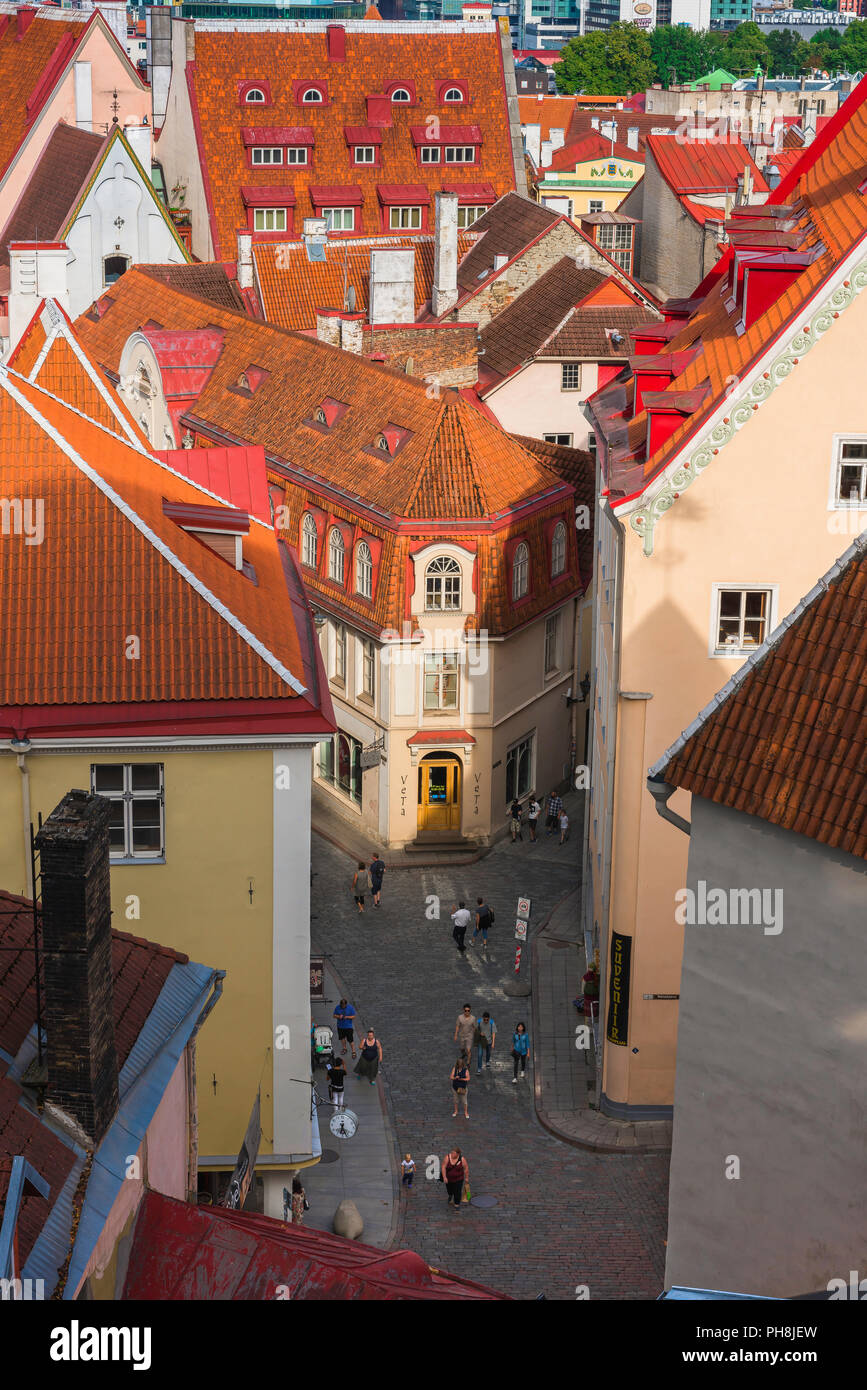 Tallinn street, view over orange tiled roofs towards a narrow street in the medieval Old Town quarter of Tallinn, Estonia. - Stock Image