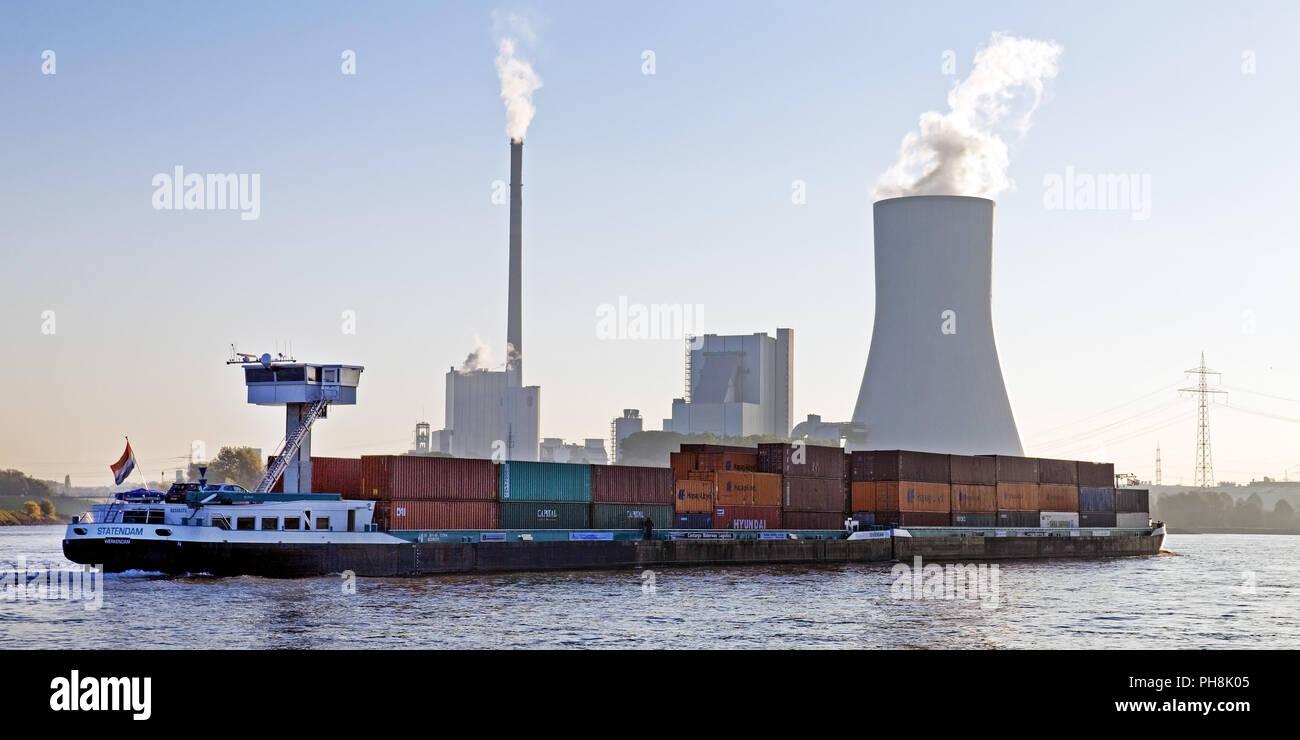 Cargo ship, Rhine, Walsum power plant, Rheinberg - Stock Image