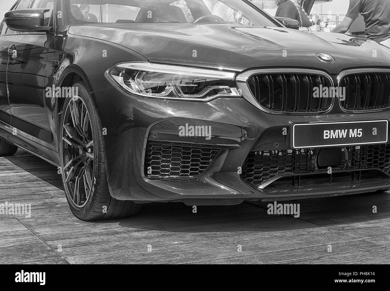 Save Download Preview Italy - porto cervo - August 19, 2018 : front view of the super car BMW M5 on display at Porto Cervo in Sardinia. - Stock Image