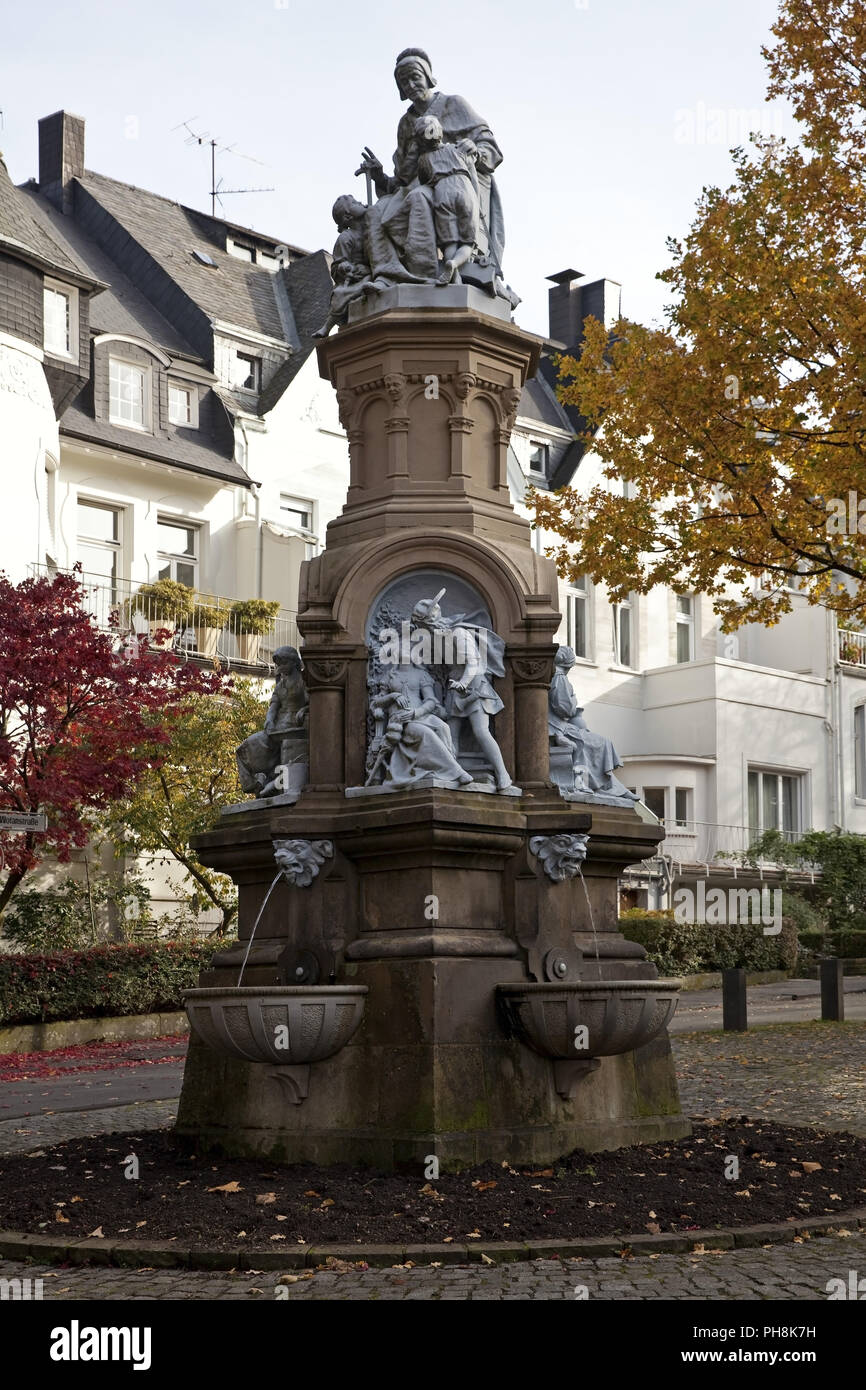 Fairytale fountain, Zoo Quarter, Wuppertal,Germany - Stock Image
