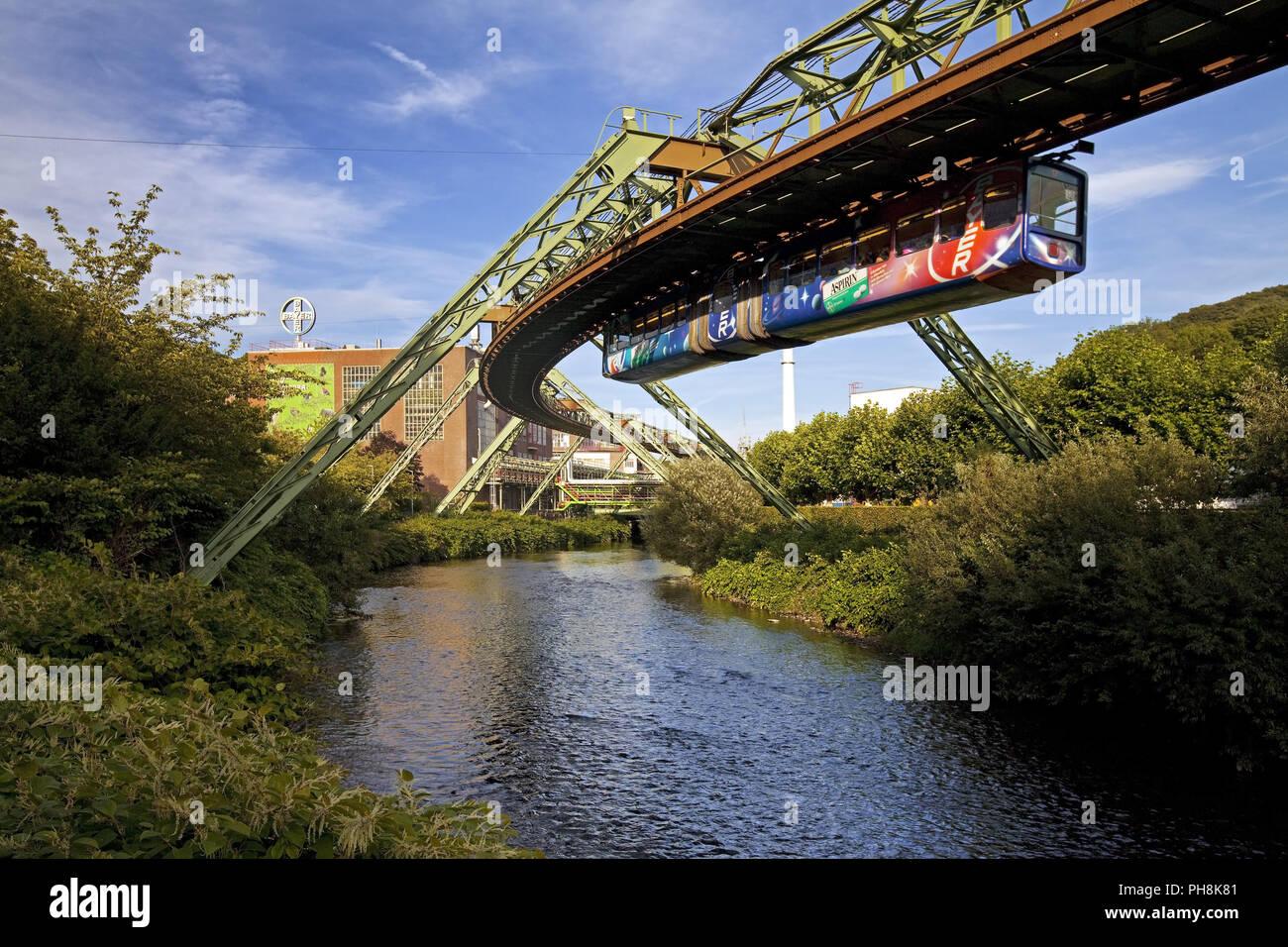 Schwebebahn, suspended monorail, Wuppertal - Stock Image