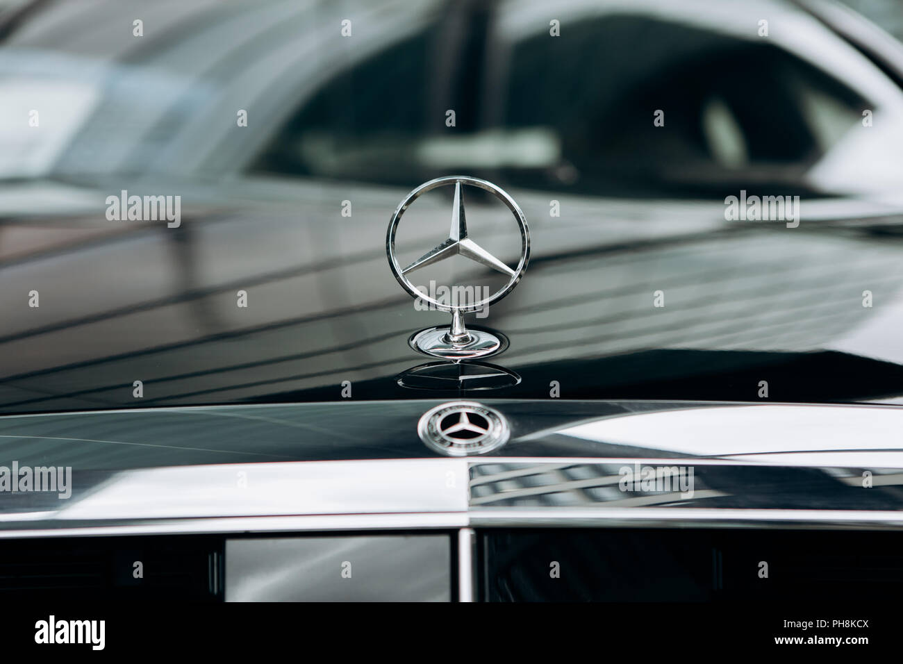 Berlin August 29 2018 A Close Up Of The Mercedes Sign And The
