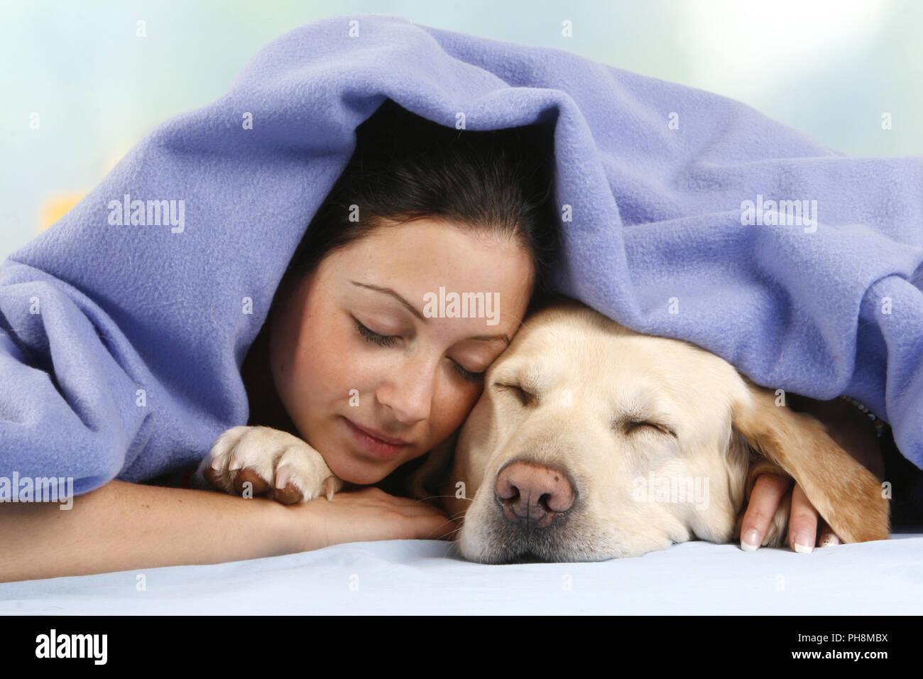 young woman, Labrador Retriever, Relaxation - Stock Image