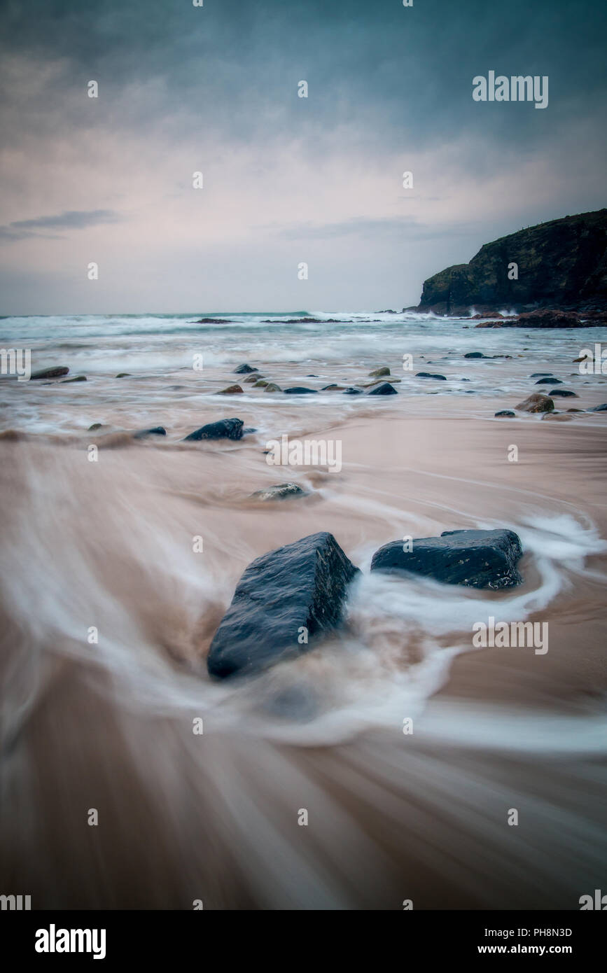 Waves on Cornwall Beach Stock Photo