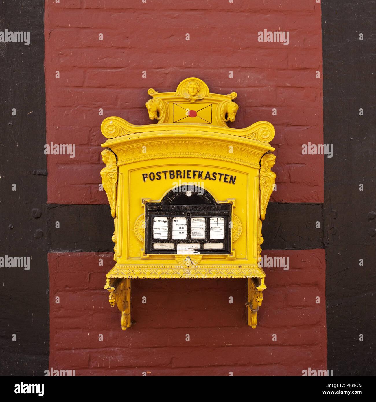 Post mailbox, Rheda Castle, Rheda-Wiedenbrück - Stock Image