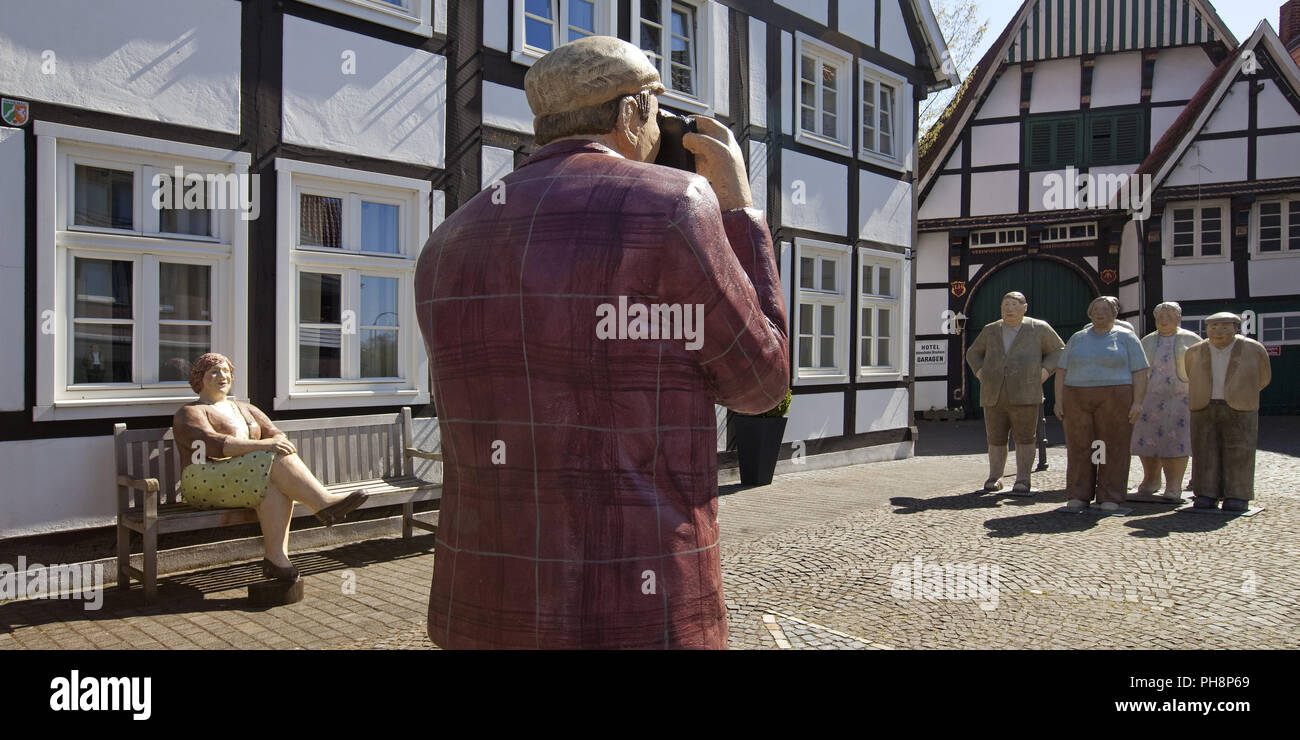 'Alltagsmenschen' in the old town, Wiedenbrueck - Stock Image