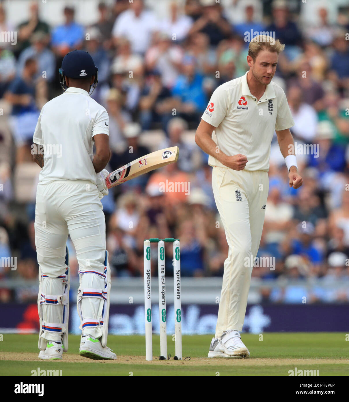 England's Stuart Broad celebrates taking the wicket of India's KL Rahul during day two of the fourth test at the AGEAS Bowl, Southampton. - Stock Image