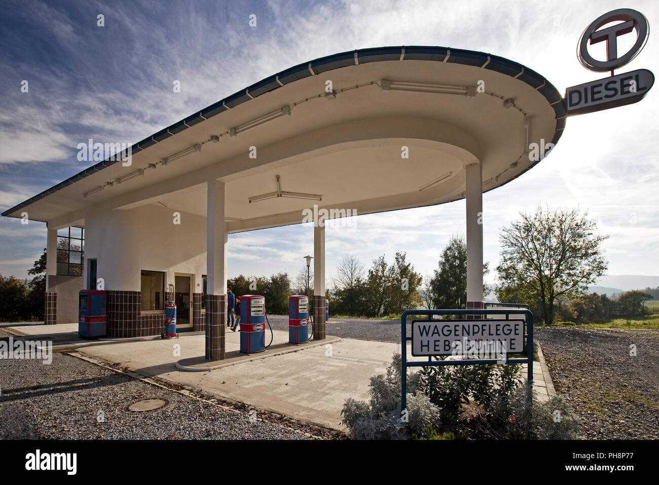 historic gas station, open air museum, Detmold - Stock Image
