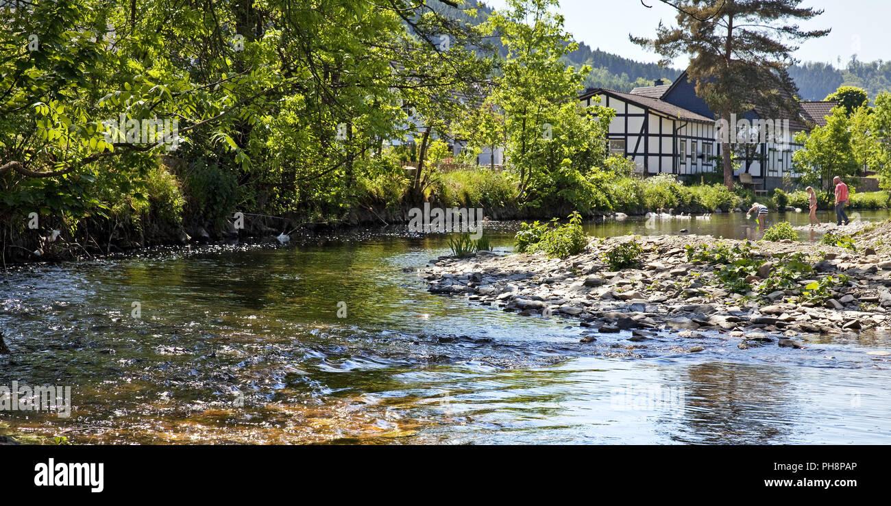 River Lenne district Saalhausen, Lennestadt Stock Photo