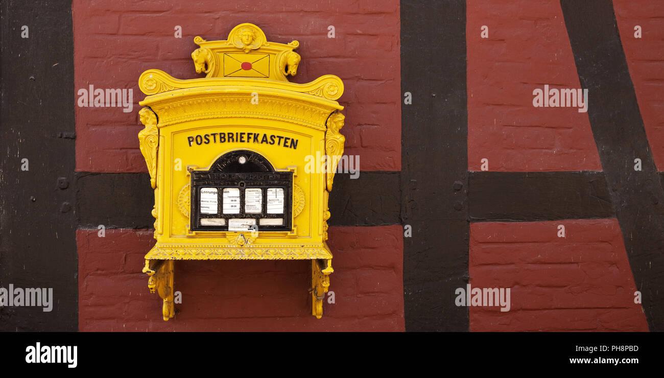 Post mailbox, Rheda Castle, Rheda-Wiedenbrueck - Stock Image