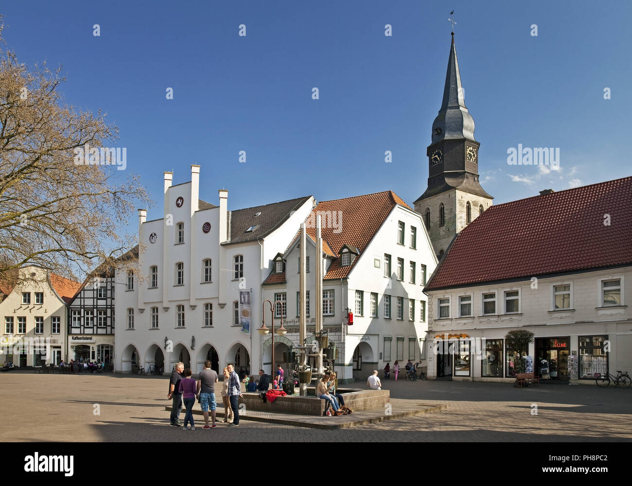 marketplace, town museum and church, Beckum - Stock Image