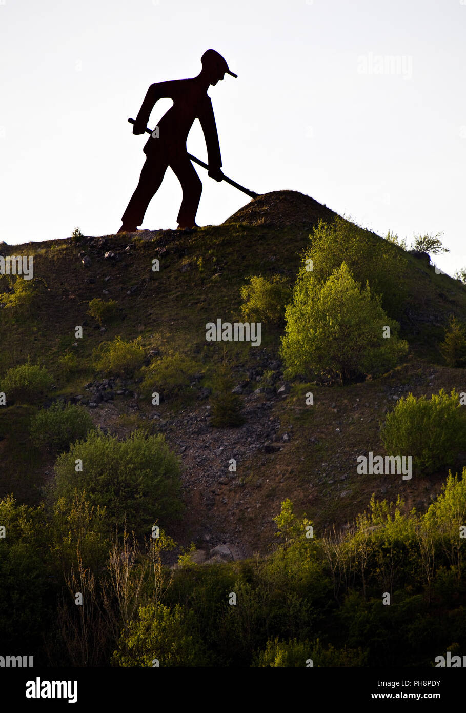 sculptur ironmen, stone quarry, Brilon - Stock Image