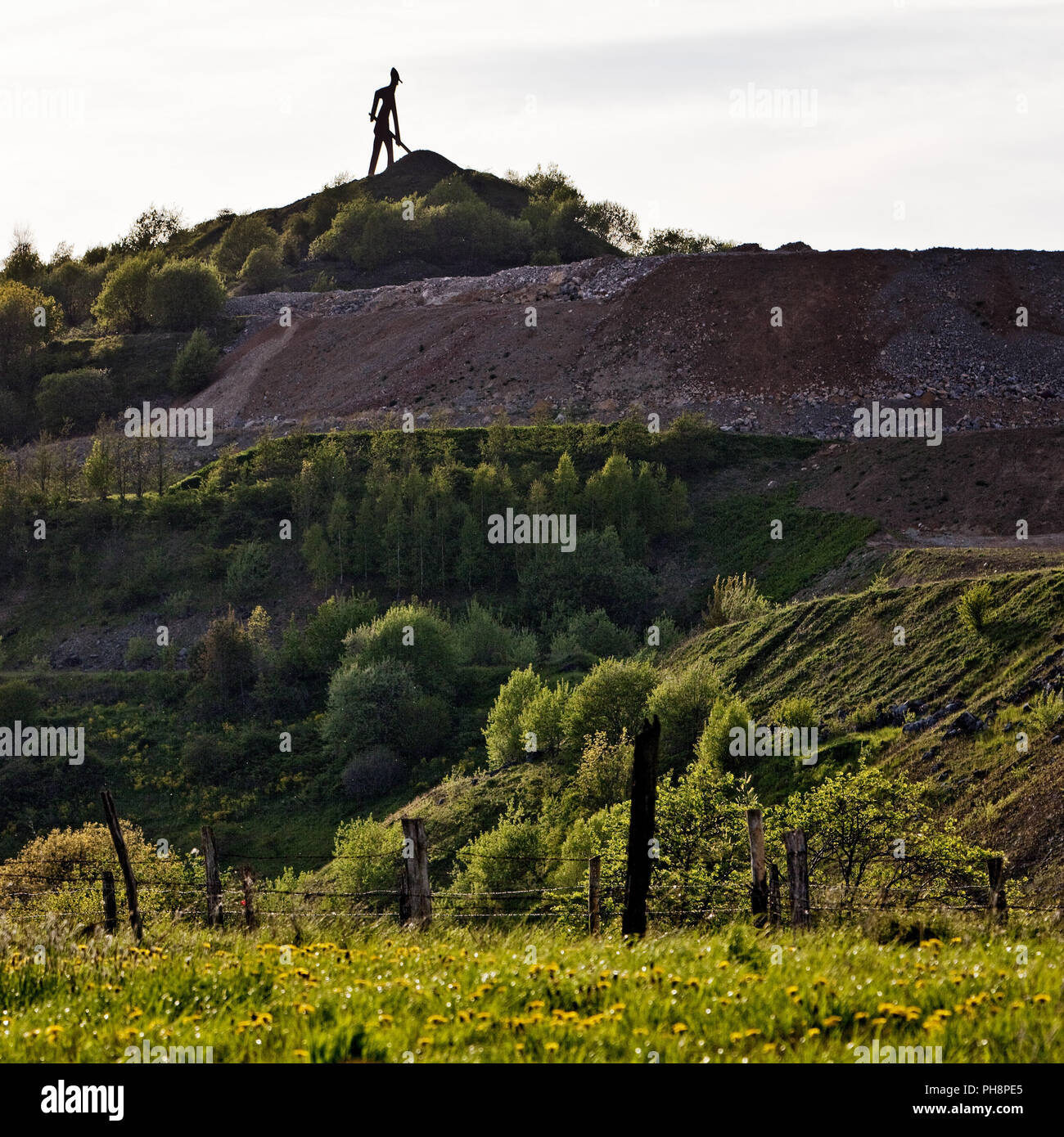sculptur ironmen, stone quarry, Brilon - Stock Image