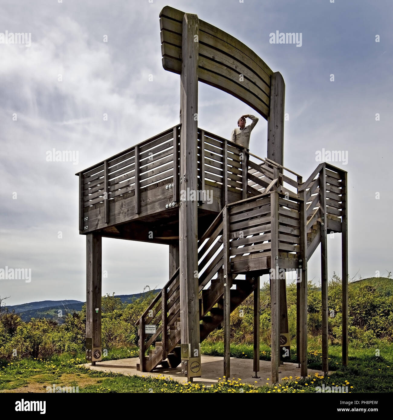 observation tower in form of a chair, Hallenberg - Stock Image