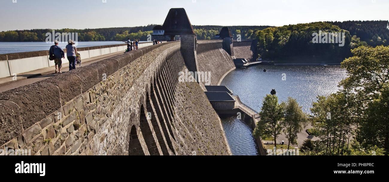 Moehne Reservoir concrete dam, Germany - Stock Image