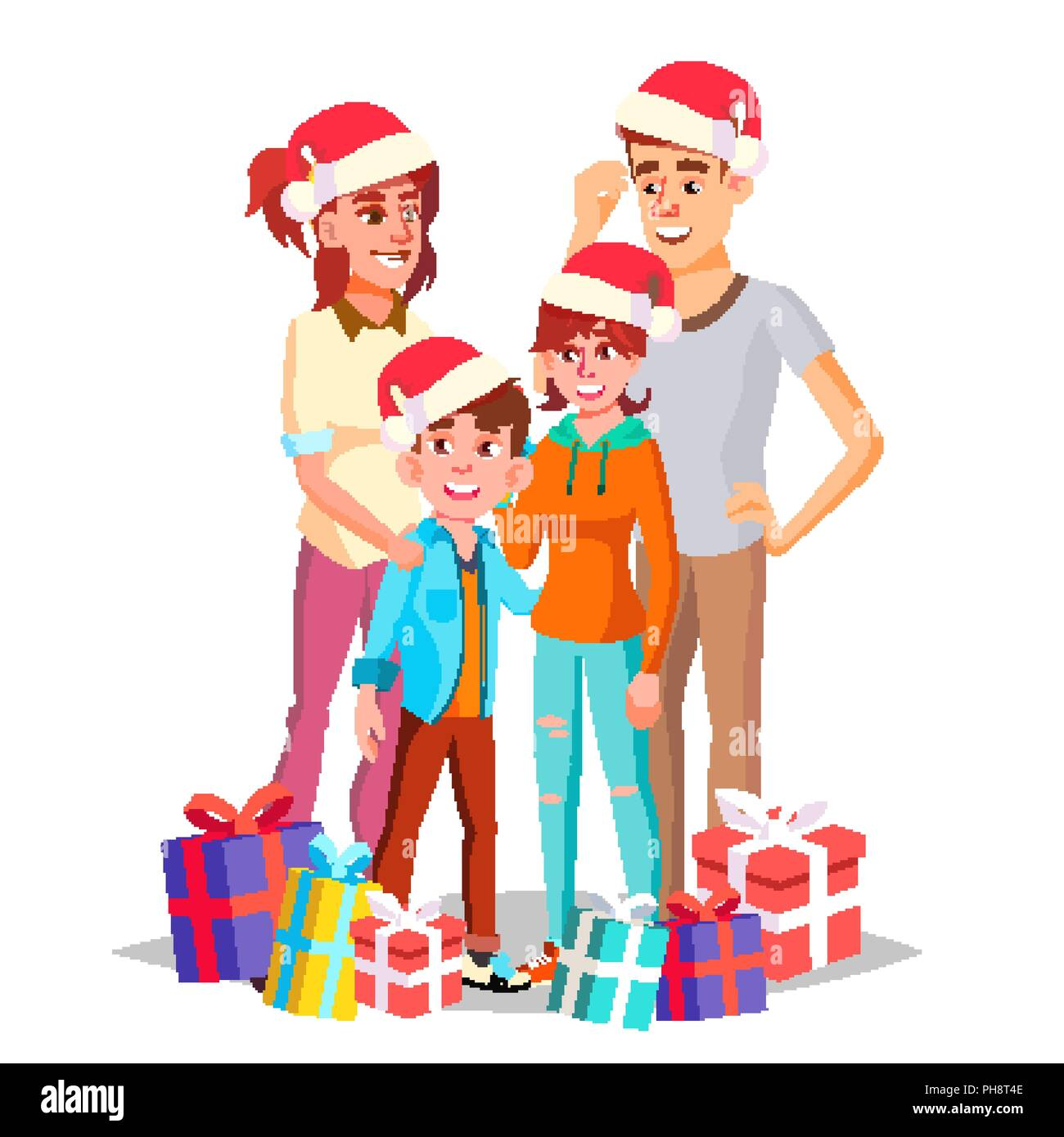 Mother Christmas Cartoon.Christmas Family Vector Dad Mother Kids In Santa Hats