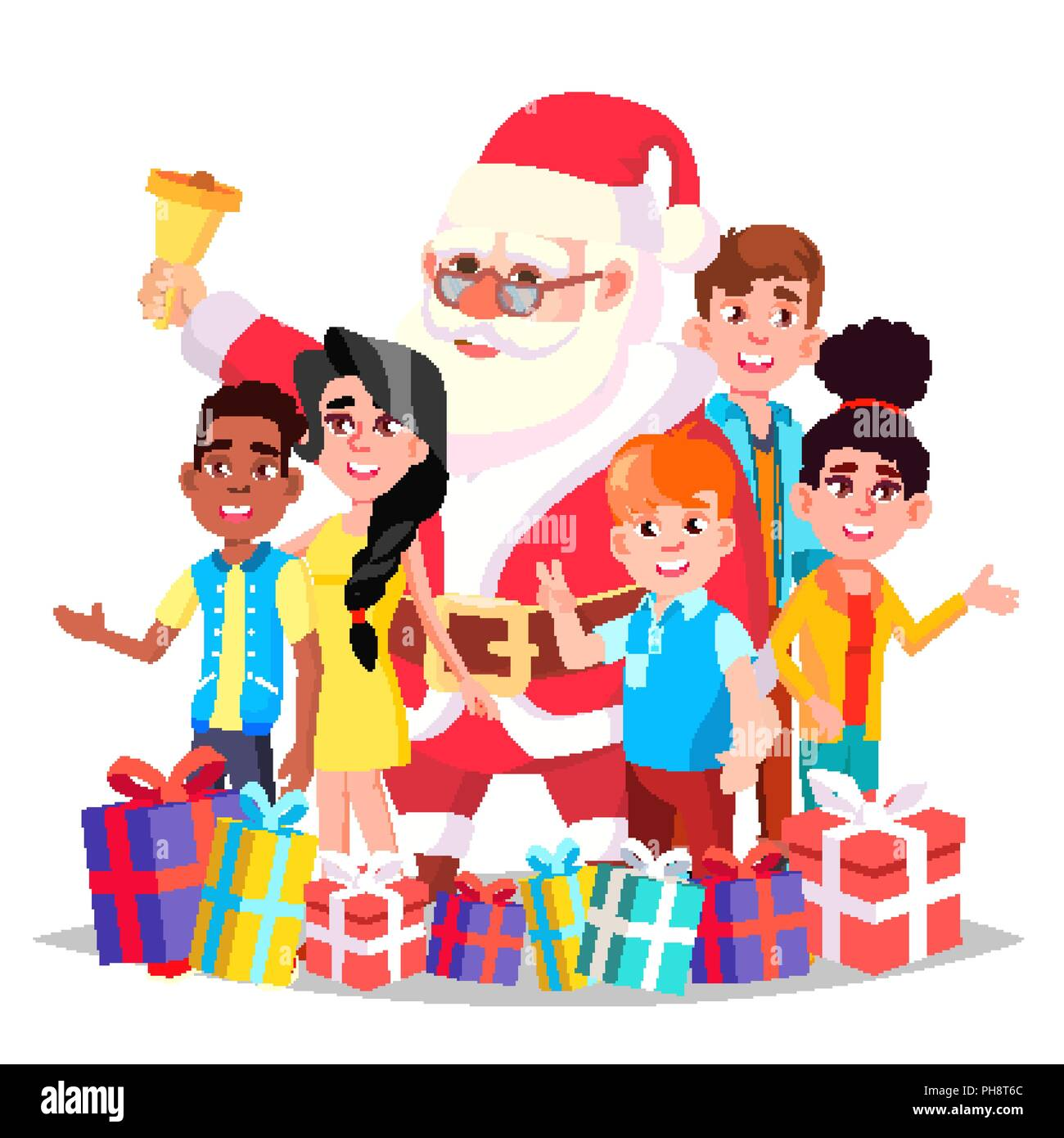 santa claus with children vector happy kids traditional event happy new year gifts decoration element isolated cartoon illustration