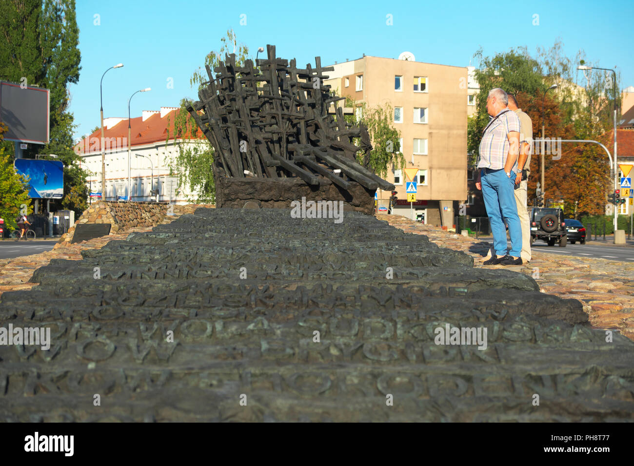 Warsaw Poland the Monument to the Fallen and Murdered in the East commemorates the invasion by USSR on 17th September 1939 and later repression - Stock Image
