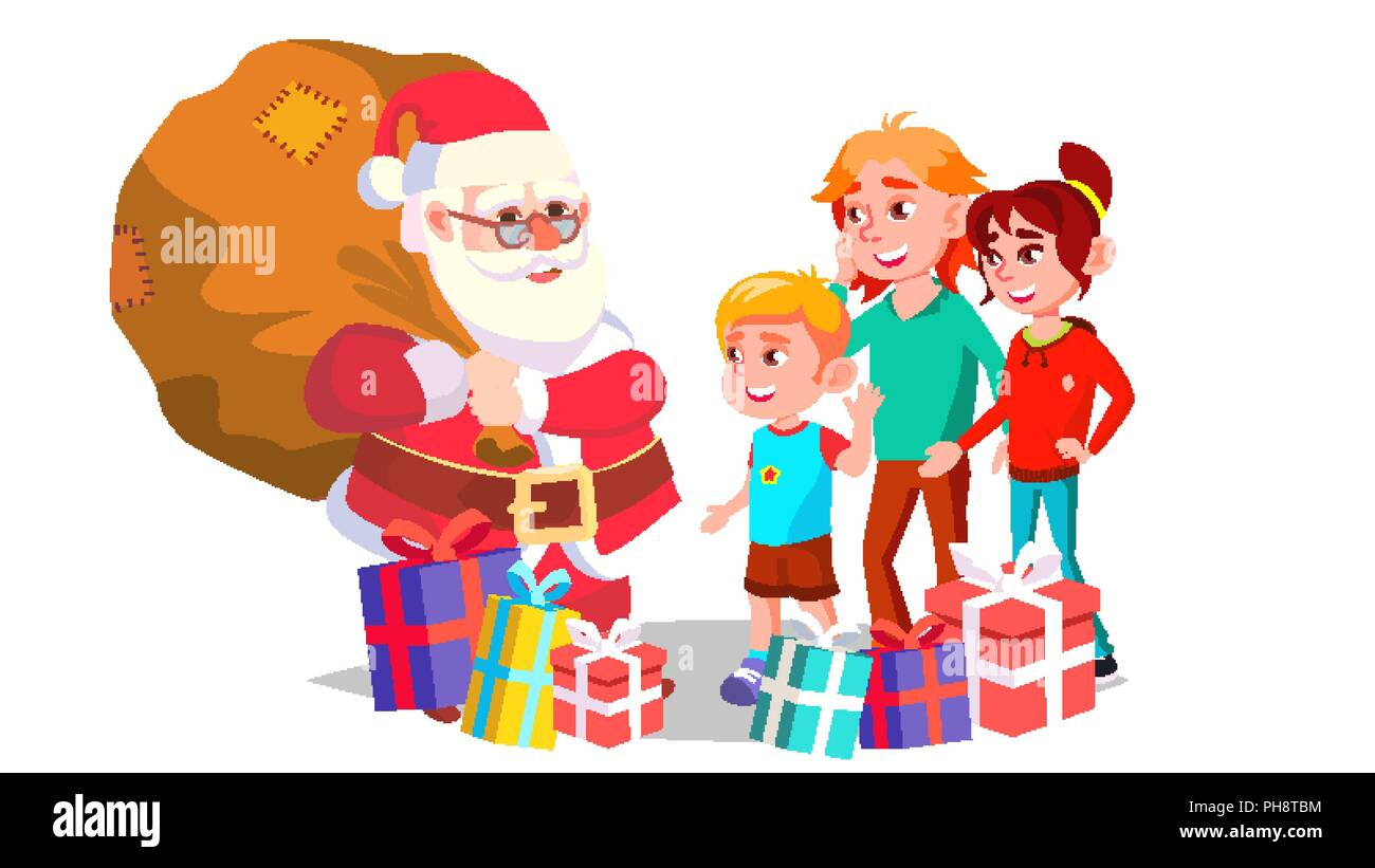 santa claus with children vector cheerful kids winter holidays happy new year gifts banner flyer brochure design isolated cartoon illustration