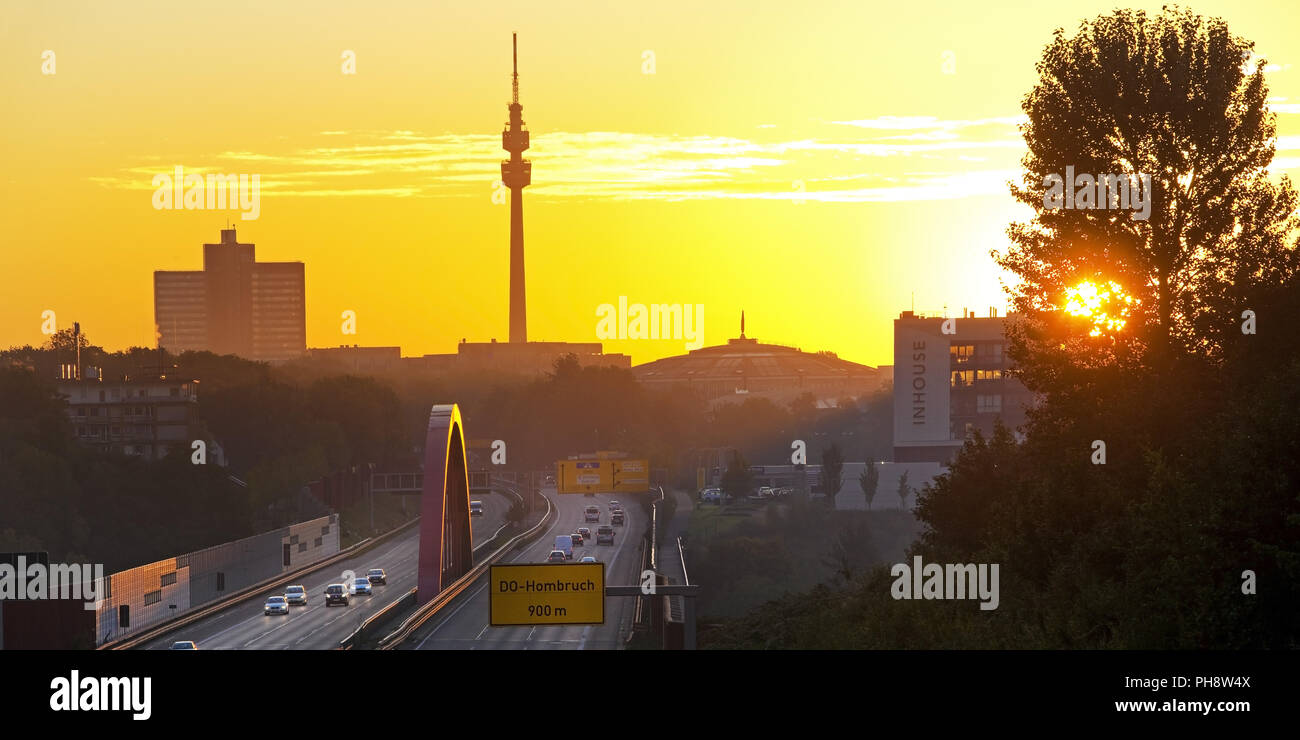 highway A 40 at sunrise, Florian Tower, Dortmund - Stock Image