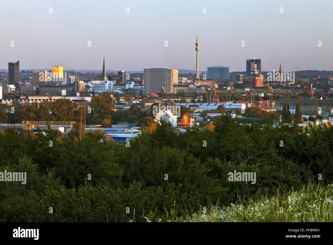 panorama of the city with Florian Tower, Dortmund - Stock Image
