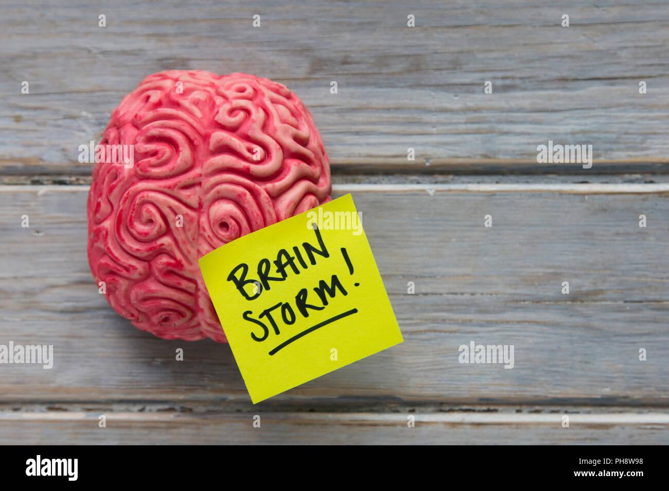Brainstom label stuck on a brain Stock Photo