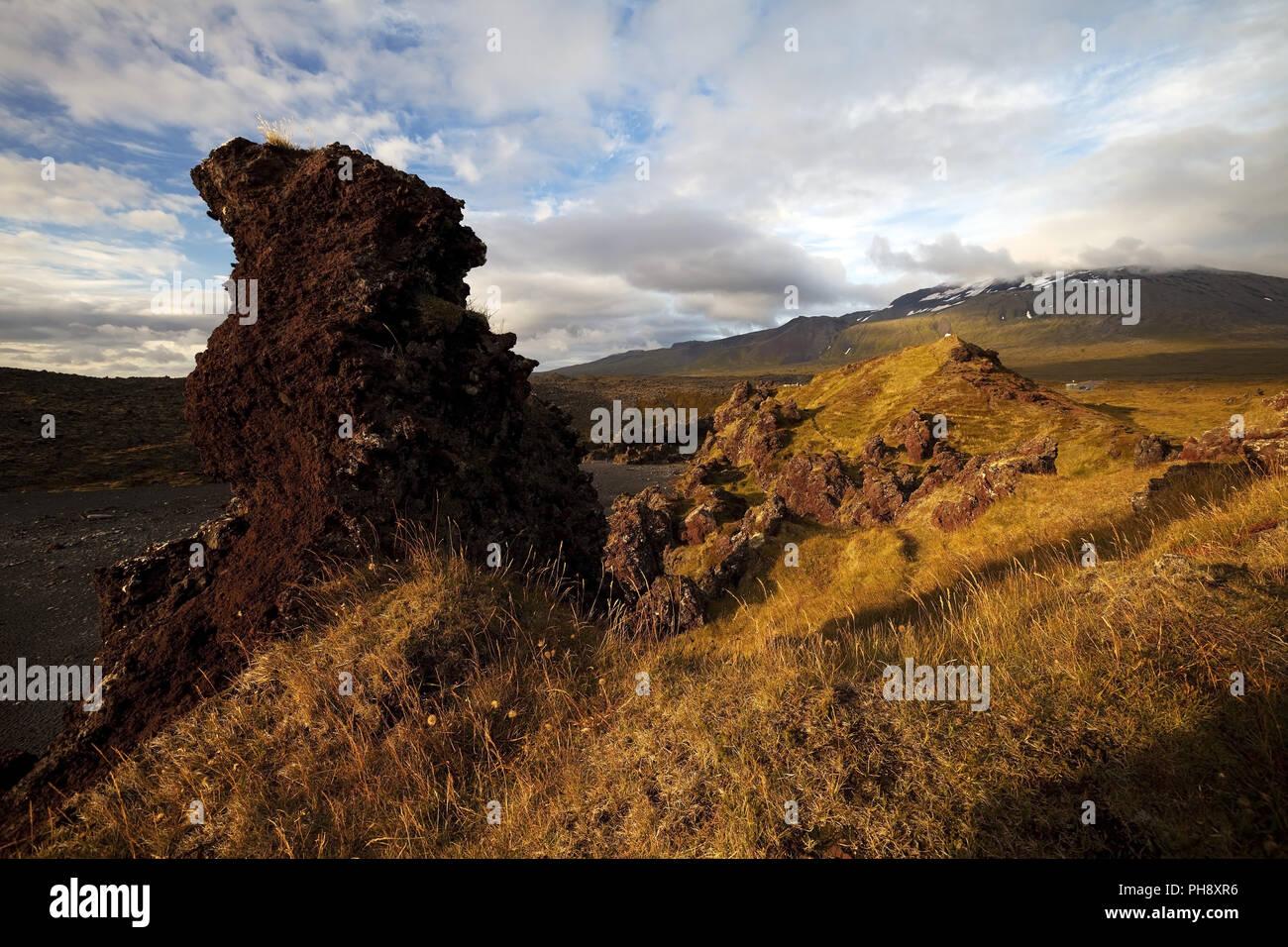 lava rock of Djupalonssandur, Snaefellsnes, Iceland - Stock Image