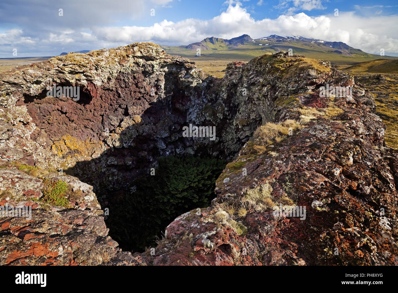 Neshraun lava field with crater, Snaefellsnes, Iceland - Stock Image