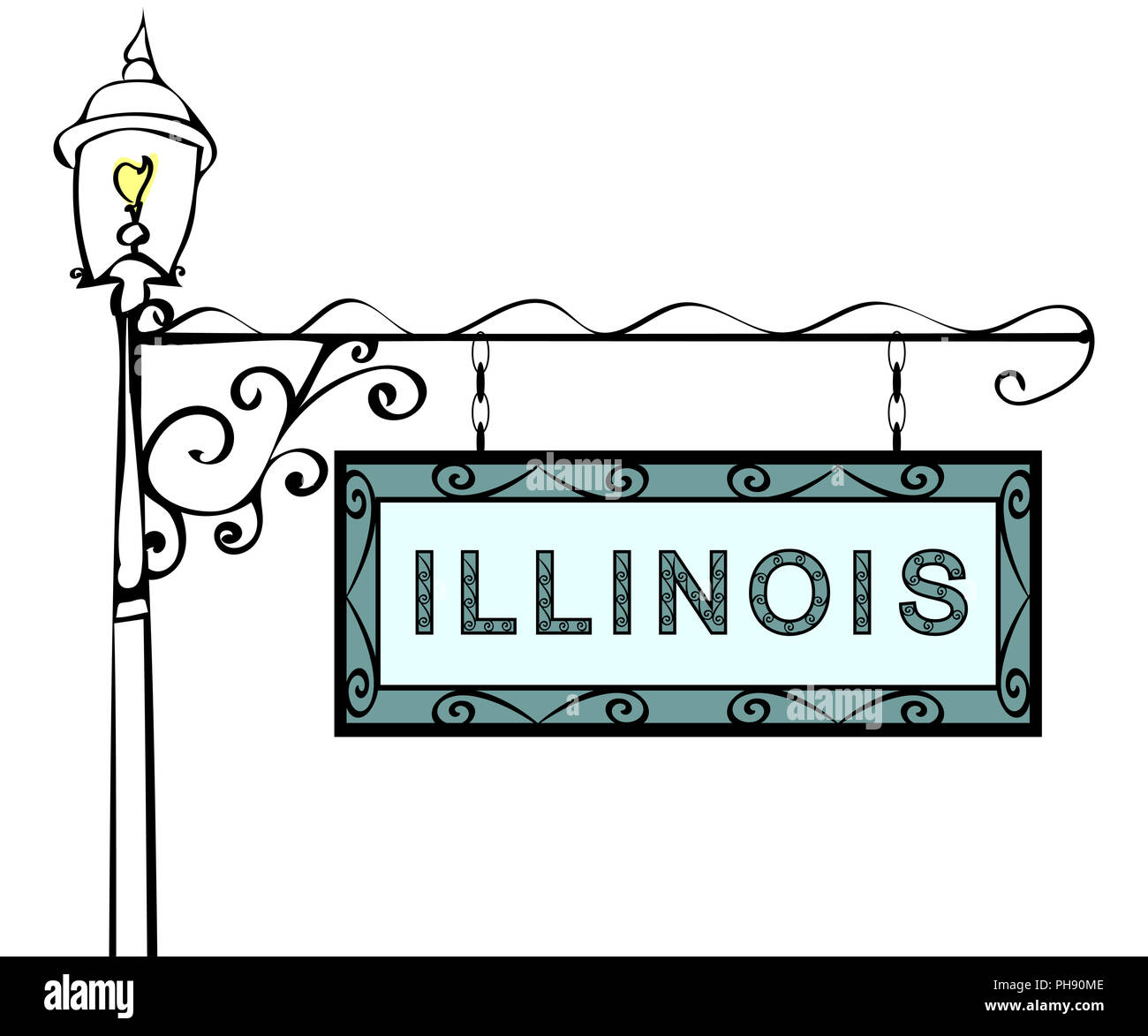 Illinois retro pointer lamppost. - Stock Image